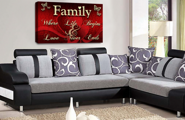Family Quote Wall Art Picture Red Cream Grey Love Print